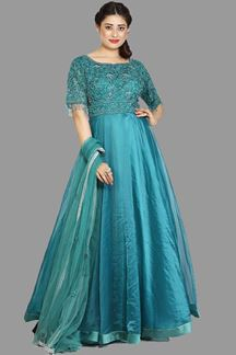 Picture of Appealing Teal Colored Partywear Organza Gown