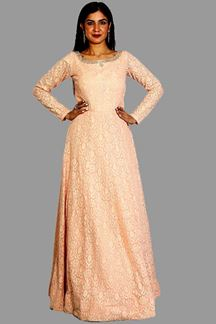 Picture of Classy Peach Embroidered Floor Length Gown