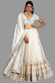 Picture of Pleasance Off-White Colored Embroidered Silk Lehenga Choli