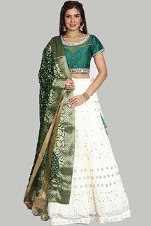 Picture of Dazzling Green-White Colored Designer Lehenga Choli