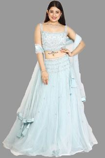Picture of Designer Sky Blue Color Net lehenga choli