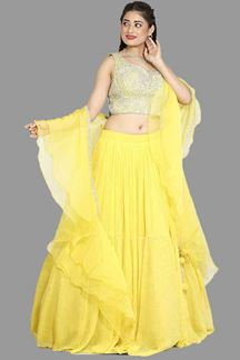 Picture of Groovy Yellow Colored Partywear Embroidered Lehenga Choli