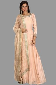 Picture of Charming Peach Colored Partywear Silk Anarkali Suit