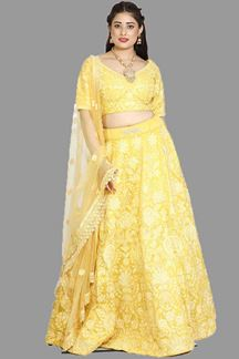 Picture of Preferable Yellow Colored  Sabyasachi Style Lehenga Choli