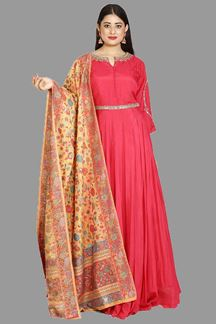Picture of Elegant Pink Colored Silk Anarkali Suit