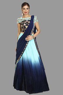 Picture of Prominent Blue Colored Velvet Lehenga Choli