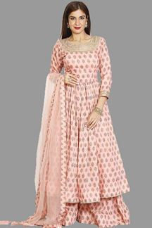 Picture of Beautiful Peach Colored Printed Palazzo Suit