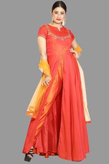 Picture of Marvellous Two tone Orange Color Pant Style Suit
