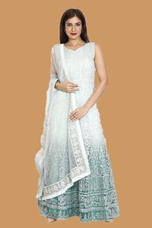 Picture of Sea Blue Shaded Net Embroidery Anarkali Suit
