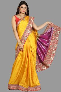 Picture of Mesmeric Mustard Yellow Colored Festive Wear Woven Silk Saree