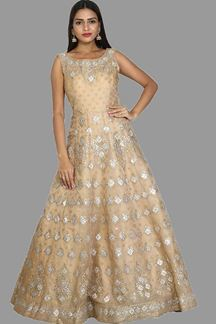 Picture of Impressive Beige Colored Organza Designer Gown