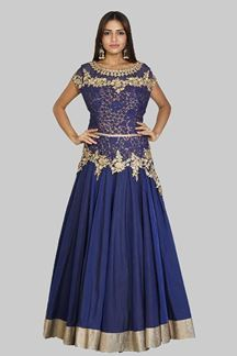 Picture of Hypnotic Navy Blue Colored Partywear Art Silk Gown