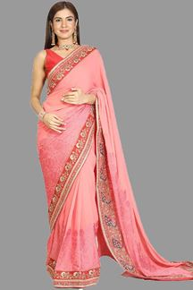 Picture of Engrossing Peach Colored Partywear Georgette Saree