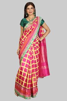 Picture of Radiant Pink Colored Festive Wear Woven Patola Silk Saree