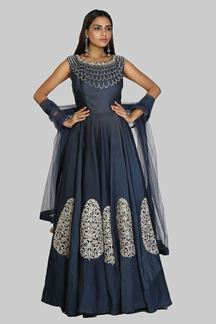 Picture of Gorgeous Navy Blue Colored Partywear satin silk Gown