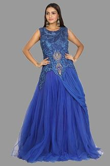 Picture of Glowing Blue Colored Net Gown