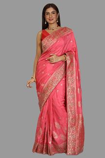 Picture of Unique Pink Colored Festive Wear Woven Banarasi Silk Saree