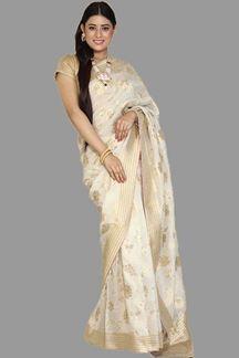 Picture of Opulent Cream- Golden Colored Banarasi Silk Saree