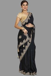 Picture of Trendy Black Color Raw Silk Saree