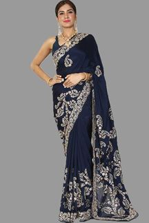 Picture of Appealing Navy Blue Colored Designer Crepe Saree