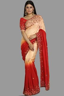 Picture of Jazzy Red Shaded Colored Dola Silk Saree