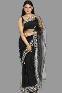 Picture of Blissful Black Colored Net Saree