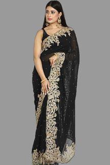 Picture of Impressive Black Colored Georgette Saree