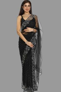Picture of Radiant Black Colored Net Saree
