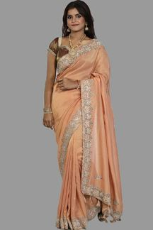 Picture of Gorgeous Rust Colored Shimmer Tissue Saree