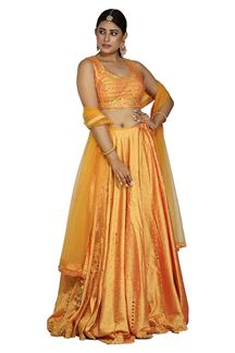 Picture of Unique Yellow Colored Silk Lehenga Choli
