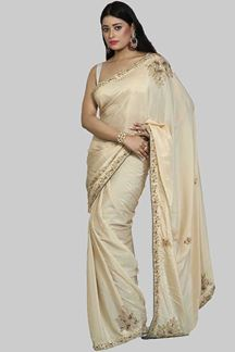 Picture of Alluring Beige Colored Party Wear Crepe Saree