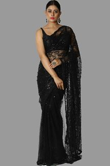 Picture of Breathtaking Black Colored Party Wear Net Saree
