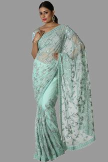 Picture of Blue Colored Party Wear Net Saree