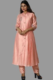 Picture of Peach Colored Art Silk Pant Suit