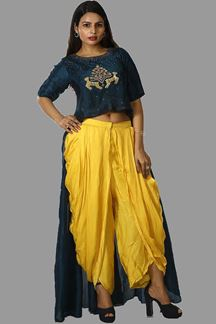 Picture of Dhoti Style Blue & Yellow Color Designer Suit