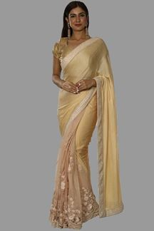 Picture of Delightful Beige Colored Party Wear Embroidered Half & Half Saree