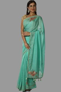 Picture of Innovative Green Colored Partywear Chiffon Saree