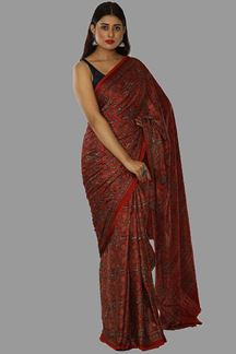 Picture of Ideal Red Colored Casual Printed Satin Saree