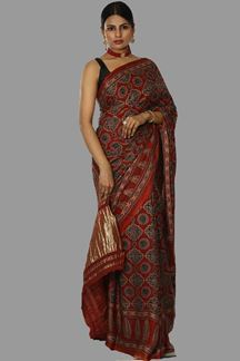 Picture of Appealing Maroon Colored Satin Saree