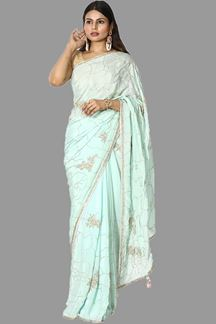 Picture of Flamboyant Ice Blue Colored Partywear Crepe Saree