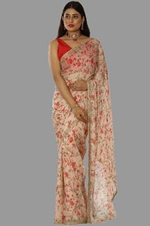Picture of Gorgeous Peach Colored Chiffon Georgette Saree