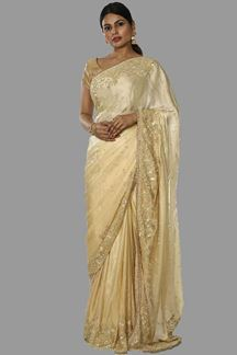 Picture of Blooming Beige Colored Partywear Crepe Saree