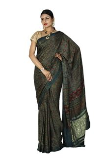 Picture of Ideal Green Colored Casual Printed Satin Saree