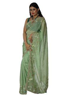 Picture of Arresting Pista Green Colored Koar Silk Saree