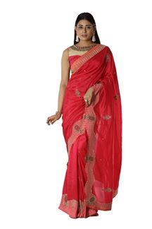 Picture of Glorious Dark Pink Colored Party Wear Dolla Silk Saree