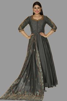 Picture of Trendy Gray Colored Partywear Anarkali Suit