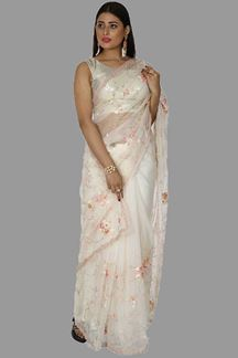 Picture of Engrossing Cream Colored Partywear Organza Saree