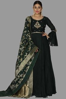 Picture of Blooming Bottle Green Colored Partywear Anarkali Suit