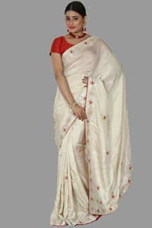 Picture of Opulent Beige Colored Dolla Silk Saree