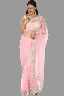 Picture of Gorgeous Baby Pink Colored Bollywood Style Net Saree